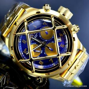 Invicta Russian Diver Nautilus Cage Gold Plated Steel 52mm Blue Chrono Watch New
