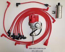 CHRYSLER 440 59-72 RED Small Female HEI Distributor+Chrome Coil+Spark Plug Wires