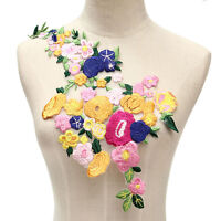 New Rose Flower Motif Collar Patc  on Applique Badge Embroidered Bust Dres