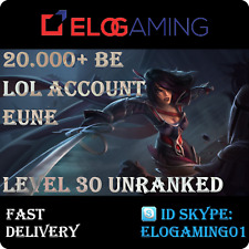 League of Legends Level 30   LoL smurf   Unranked   20.000+ BE   Account EUNE