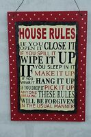 House Rules Slate Plaque Funny You Open it Close it Sign Red Polka 18cm  F1551