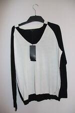 Pullover  Escada  - Gr. L - schwarz-weiß - mit viel Seide - Neuware