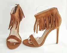 LA STRADA 100% SUEDE TAN BROWN HIGH HEEL TASSEL ANKLE STRAP SANDALS SHOES SIZE 6