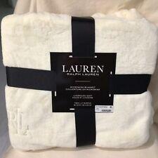 """Lauren Ralph Lauren Micromink Plush 66"""" X 90"""" TWIN Blanket Cream Throw"""