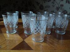 9 verres en verre très fin,  vintage années 70