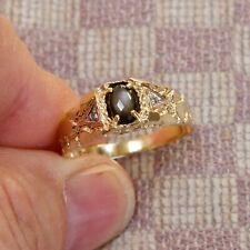 NEW MENS TEN KARAT YELLOW GOLD STAR SAPPHIRE & DIAMOND NUGGET RING (size 9.5)