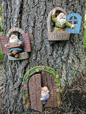 Gianna's Home Welcome Window Garden Gnome Door Fairy Garden Tree Stump Set