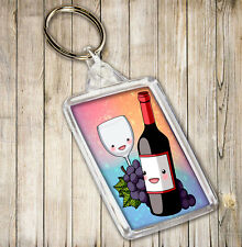 Red Wine Bottle & Glass Themed Keyring - Birthday Christmas Gift Stocking Filler