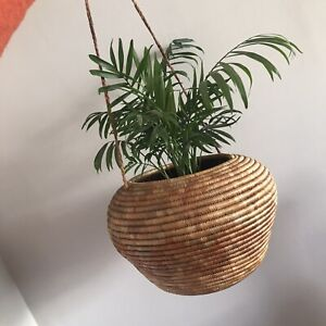 WOVEN BASKET | Ali Baba Snake Ethnic | Natural | Cane Wicker | Hanging Plant Pot