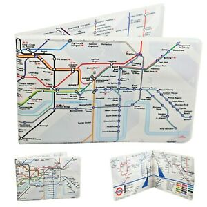 Oyster Card Travel ID Credit Bi-Fold Wallet London Underground Tube Map Holder