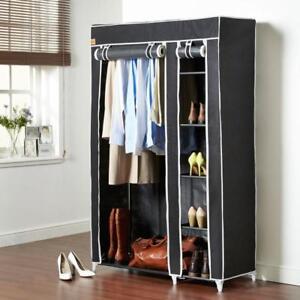 Black Fabric Bedroom Wardrobe Clothes Storage Pop Up Closet 5 Tier Shelving Unit