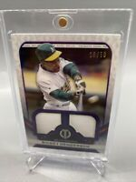 Rickey Henderson 2021 Topps Tribute Game Used Dual Relic #d /50 Purple Parallel