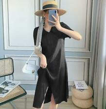 2021 new ISSEY MIYAKE pleated front slit long dress