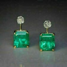 2.00 Ct Emerald & Round VVS1 Diamond 14K Yellow Gold FN Leverback Stud Earrings