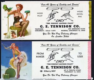 2 Girly Cincy Pin-ups by Elvgren Ink Blotter Leather High Heels Garter Lingerie^