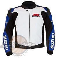 SUZUKI 4316 BLUE Motorbike Motorcycle Biker COWHIDE JACKET REAL Leather Gear