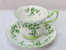 England Royal Albert Bone China Shamrock Tea Cup Teacup Saucer Set Ribbed Green