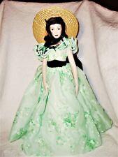 Franklin Heirloom Dolls 1985 Scarlet O'Hara Doll Green Floral Chiffon Dress Euc