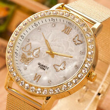 Butterfly Crystal Gold Ladies Women Girl White Bracelet Quartz Wrist Watch Gift