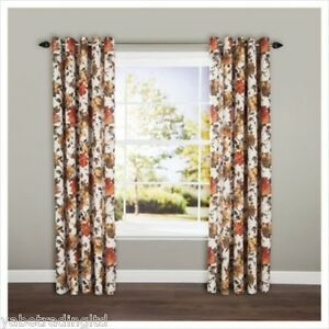"""RED LINED BOLD HAND PAINTED FLORAL EYELET CURTAINS 44"""" X 54"""" DRAPES DECOR PAIR"""