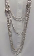 Designer EXPRESS Silver Tone layered Sweater Long Necklace Multi Chains UNIQUE
