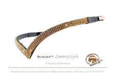 "Gold/Blk. Luminocity V Shape Crystal Dressage Bridle Browband Size: Horse 15.75"""