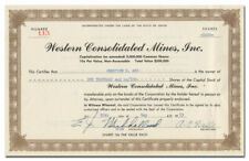 Western Consolidated Mines, Inc. Stock Certificate (Ophir Mine)