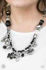 Paparazzi Jewelry black braided with charms necklace & Earrings