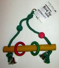 New listing Hanging Wood & Rope Bird Toy Swing with bells multi-colored *New*