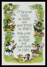 J631-Msa Frog Mouse Rabbit Raccoon Squirrel St. Patrick's Day Greeting Card New