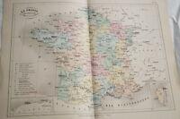 CARTE ANCIENNE COULEURS FRANCE UNIVERSITAIRE 1865 ATLAS BOUILLET R668