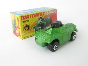 Matchbox Superfast 73 Weasel Armoured Car Metallic Green Crisp I Box With New
