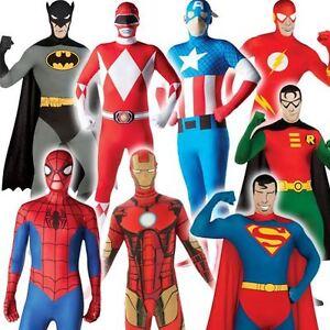 Mens 2nd Skin Superhero Full Body Suit Bodysuit Fancy Dress Costume Adult Outfit