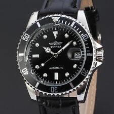 WINNER Casual Black Leather Calendar Automatic Mechanical Men Sport Wrist Watch