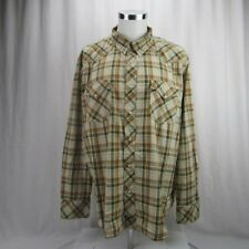 Lucky Brand Pearl Snap Western Shirt Mens 100% Cotton Plaid Button Down Size XXL