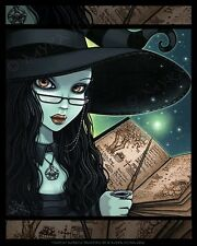 Gothic Witch Halloween Samhain Magical Twyla CANVAS Print Signed Myka Jelina