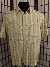 Geoffrey Beene Short Sleeve Washable Silk Shirt Sz Large Brown Geometric