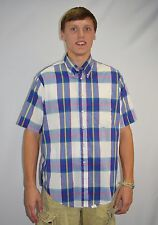 Vintage 80's Men's Cove Creek Plaid Short Sleeve Button Up Shirt Size Xl - Usa