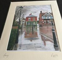 "large colourful signed  print of ""  street scene in romsey ""  ( p.willis )"