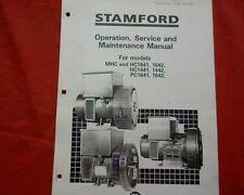 Stamford MHC HC PC 1441 1442 1641 & 1642 Generator Owners, maintenance manual