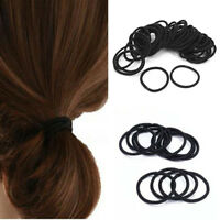 50pcs Small Elastic Hair Ties Band Ropes Ring Ponytail Holder Accessories Black