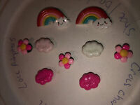 Rainbows,clouds & Flowers Lot Of 9 Crocs,Bracelet,Lace Adapter Charms,Jibbitz