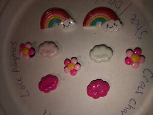 Rainbows,clouds & Flowers Lot Of 9 Shoe, Bracelet,Lace Adapter Charms, Plz Read