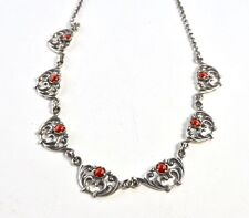 Antique Coral And Silver German Gothic Victorian Fancy Link Necklace