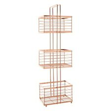 3 Tier Rectangular Storage Caddy Rose Gold Finish Iron Wire Rack Holder Tidy