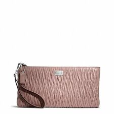 NWT Coach Madison Flat Clutch in Gathered Twist Leather 49721 Silver / Tearose