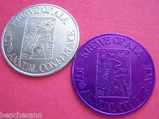 1988 Krewe of Alla ALA ALABASH Plain+Purple Aluminum Mardi Gras Doubloon Set