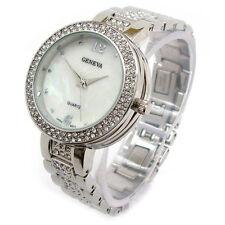 Geneva Silver Tone Crystal Bezel & Bracelet Women's Watch