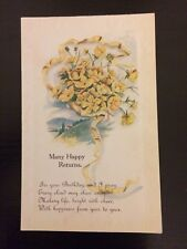 "Vintage greeting card postcard unused original ""Many Happy Returns"" Birthday"