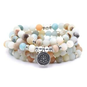 Natural Stone Tibetan Yoga Prayer Mala OM Lotus Bracelet Necklace 108 Beads